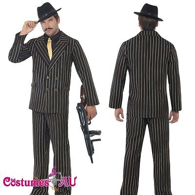 Mens 20s 1920s Gold Pinstripe Gangster Costume 1920's Male Razzle Fancy Suit](1920 Male Costumes)
