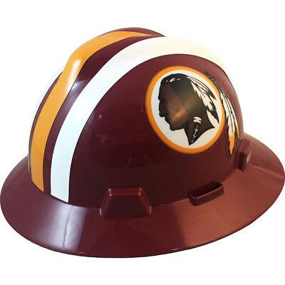 MSA V-Gard FULL BRIM WASHINGTON REDSKINS NFL Hard Hat Type 3 RATCHET Suspension