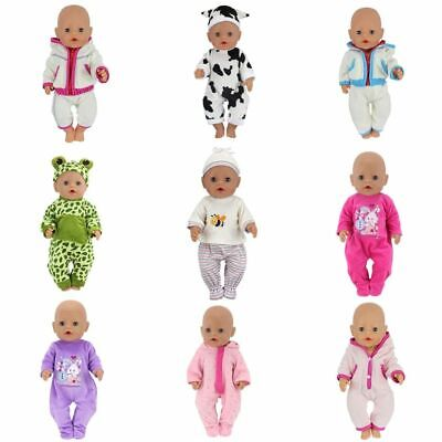 17 Inch Doll Clothes - Baby Doll Clothes Fit 17 inch Girls Dolls Dress 43cm Pajamas Jump Suits Fashion