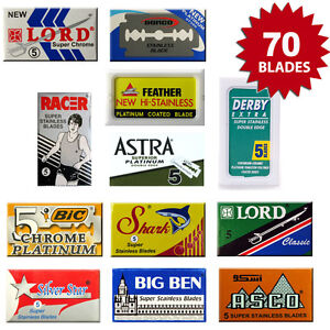 70 x Double Edge Razor Blades - DE BLADE SAMPLER PACK