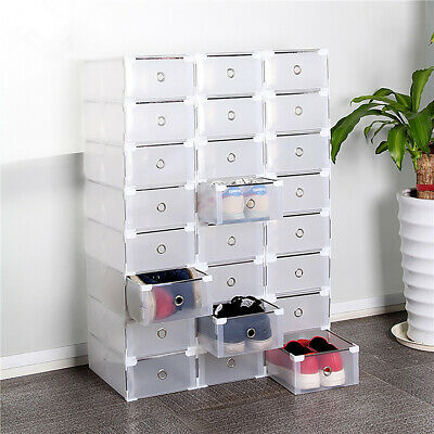 10 Pack Plastic Stackable Shoe Storage Organizer Clear Drawer Box Metal Frame