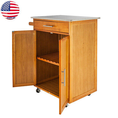 Rolling Kitchen Island Cart Cupboard Microwave Stand Storage Organizer Shelf