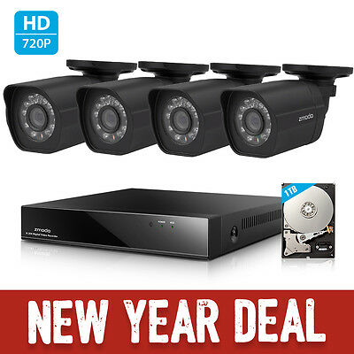 Zmodo 1080P HD IP Network 8CH NVR PoE 4 Security Surveillance Camera System 1TB