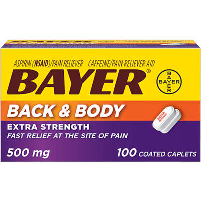 Bayer Extra Strength Caplets, Back and Body 500 mg, 100 count (Caplet Extra Strength Aspirin)