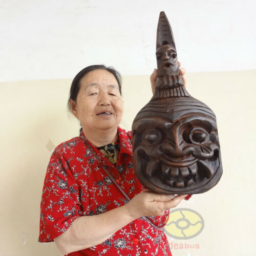 Folk Art Wood Hand Carved Painted NUO MASK Walldecor Spoon Art - Kitchen Deity