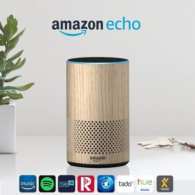 Amazon Echo (2. Generation), Intelligenter Lautsprecher mit Alexa, Eiche Optik