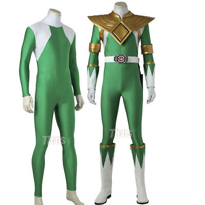 Mighty Morphin Power Ranger Burai Cosplay Costume ZYURANGER Green Dragon Ranger