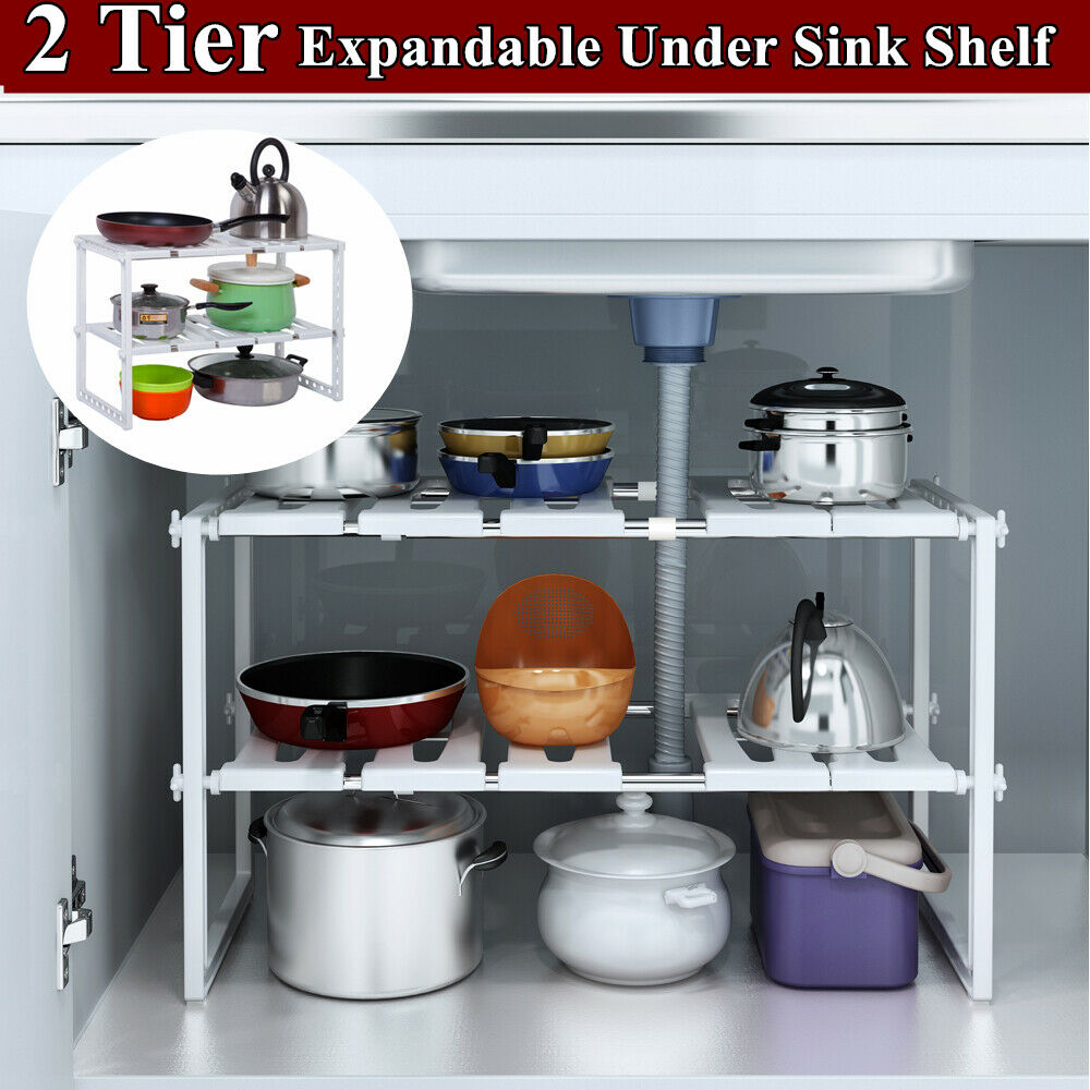 2 Tier Under Sink Expandable Kitchen Cabinet Shelf Organizer Bath Storage Rack