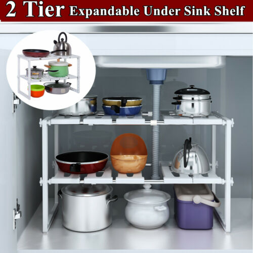 2 Tier Under Sink Expandable Kitchen Cabinet Shelf Organizer