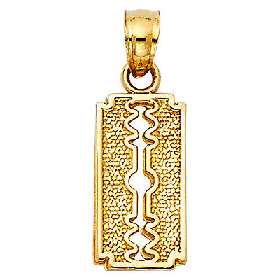 - 14K Solid Yellow Gold Diamond Cut Razor Blade Barber Shop Pendant Charm
