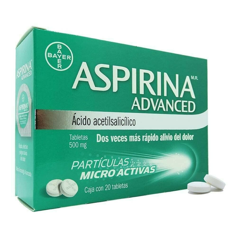 Aspirina Advanced Aspirin 500 Mg Headache Arthritis Pain Dolor Fever Fiebre