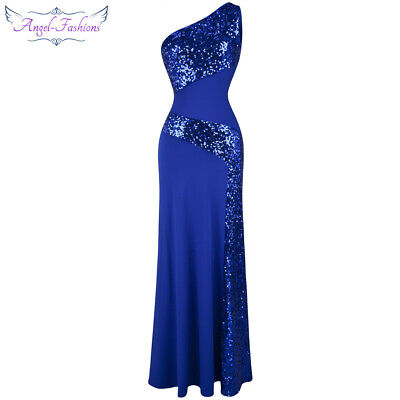 Angel-fashions Women's One Shoulder Splicing Sequins Long Party Dress Blue -