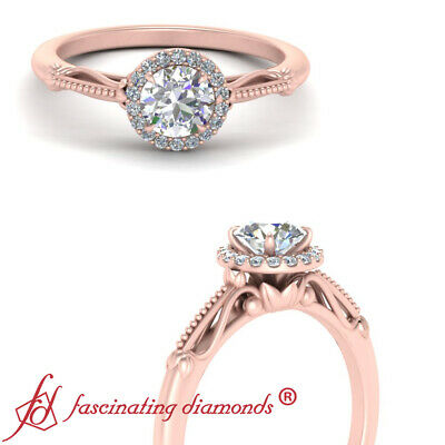 Rose Gold Vintage Halo Womens Engagement Ring With 0.90 Carat Round Cut Diamond