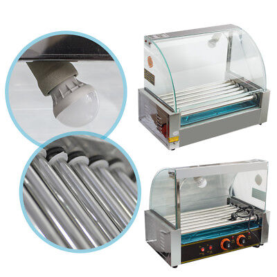Commercial 18 Hot Dog Hotdog 7 Roller Grill Cooker Machine Wcover Home Use New