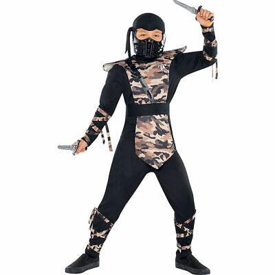 COMBAT NINJA BOYS COSTUME BLACK CAMO OPS HALLOWEEN - Camo Ninja Kostüme