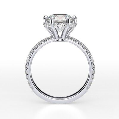 2.13Ct Round Cut Under Halo U-Prong Pave Diamond Engagement Ring - GIA CERTIFIED 2