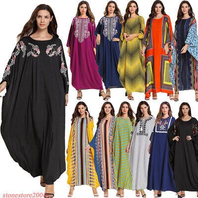Dubai Abaya Women Muslim Batwing Sleeve Dress Farasha Kaftan Jilbab Islamic Robe