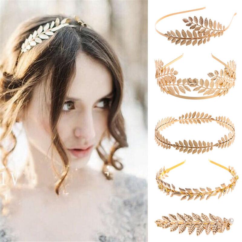 Women's Gold Leaves Pearl Wedding Bridal Crown Hair Clip Com