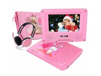 "Portable DVD Player FUNAVO 7"" Swivel Screen 4 Hours Rechargeable Battery w Matching Headphone AA16"