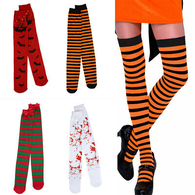 Christmas Thigh High Stockings (Women Thigh High Stockings Rave Halloween Witch Costume Christmas Socks Bat)