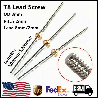 T8 Lead Screw Rod OD 8mm Pitch 2mm Lead 8mm/2mm Length 100-1200mm w Brass Nut