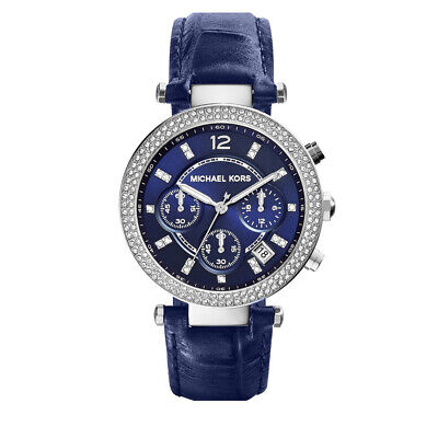 Michael Kors MK2384 Parker 39MM Women's Chronograph Crystal Blue Leather Watch