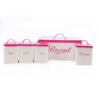 X004 Metal Pink Square Bread Bin/Box Food Storage Container Tin Canister Set - Food Storage Tin