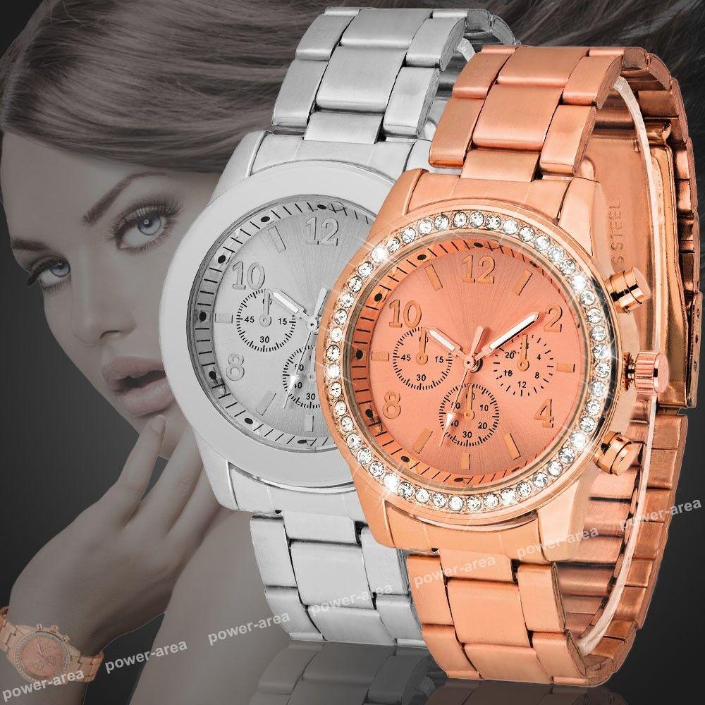 Damen Uhr Metall Armbanduhr Edelstahl Armband Analog