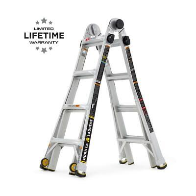 18 Ft. Reach Mpxw Aluminum Multi-position Ladder With Wheels 375 Lb. Load Type