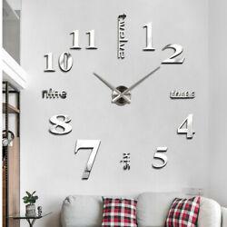 Modern 3D Frameless Wall Clock Large DIY Wall Clock Nordic Style