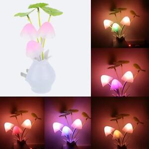 Color Rainbow Mushroom LED Night Light plug-in Wall Lamp Bathroom Bedroom Gift