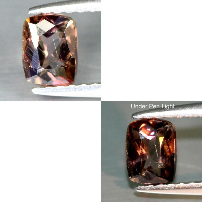 CERTIFICATE INCLUDE 0.52CTS NATURAL COLOR CHANGE BROWN AXINITE CUSHION GEMSTONE