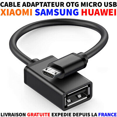 CABLE ADAPTATEUR HOST OTG USB A FEMELLE VERS USB MICRO-B MALE CLE...