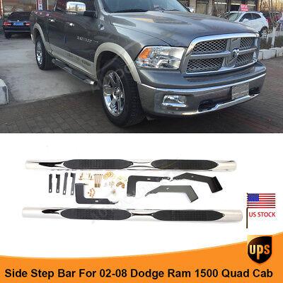 "For 02-08 Dodge Ram 1500 Quad Cab Side Step 4"" Steel Nerf Bars Running Boards"