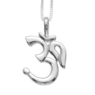 New Sterling Silver Om Sanskrit Pendant & Necklace Ohm Jewelry
