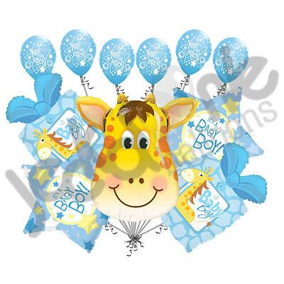 11 pc Giraffe Balloon Bouquet Decoration It's a Boy Baby Shower Welcome Home](Blue Giraffe Baby Shower Decorations)