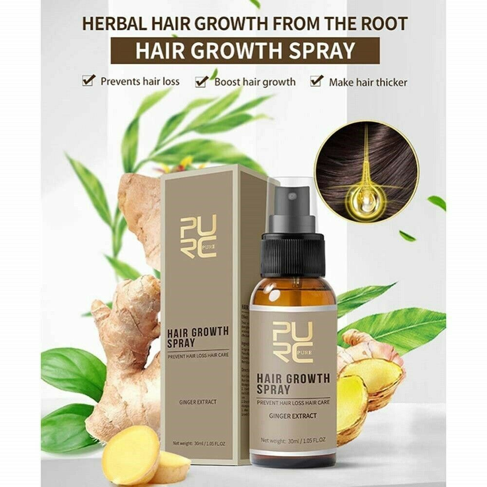 PURC 30ml Hair Spray Anti Hair Loss Ginger Hair Growth Repair Hair Care & Styling