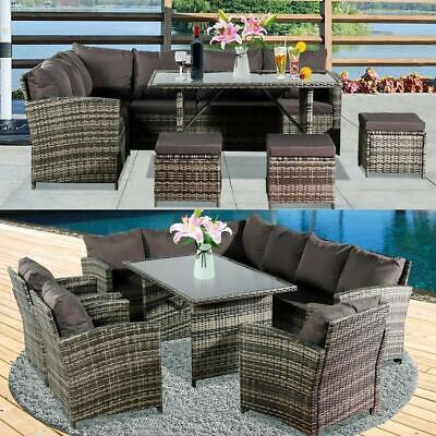 Garden Furniture - Rattan Garden Furniture Corner Sofa Dining Table Set Stools Bench Grey 9 Seat UK