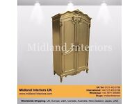 NEW Almaty Armoire French Wardrobe - Gold - Luxury Asian French Italian Leaf Gothic Antique Ornate