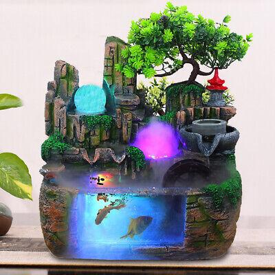 Tabletop Rockery Fountain Waterfall Bonsai Home Office Atomizing Humidifier Deco