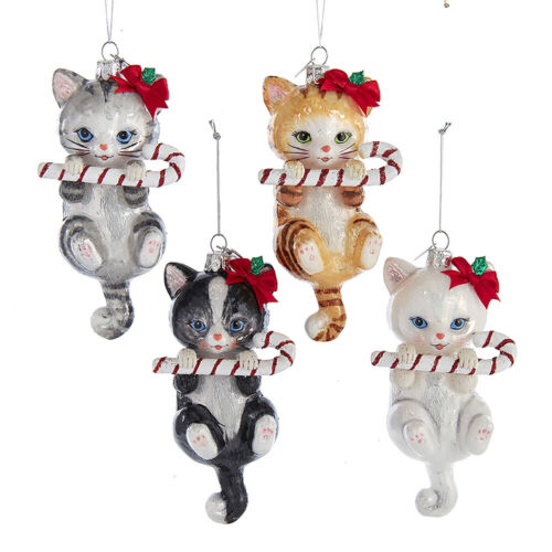 Cat w/Candy Cane Noble Gems Glass Ornaments