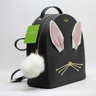 New Kate Spade Hop To It Rabbit Sammi Backpack Black Saffiano Leather NWT