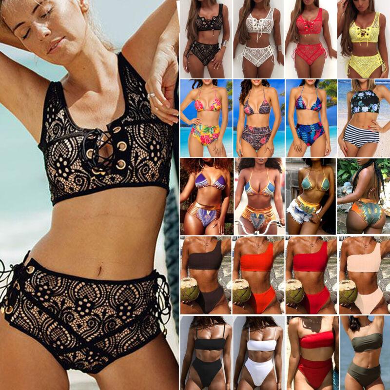 Women High Waist Swimwear Bikini Set Push-up Padded Bra Bath