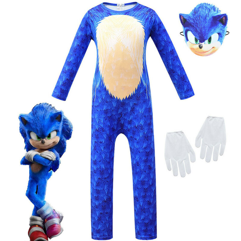 Kids Cosplay Costume Sonic The Hedgehog Boy Jumpsuit+Mask+Gl