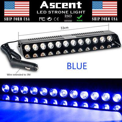 12 LED Emergency Warning Beacon Hazard Dash Deck BLUE Strobe Light Bar Foglight