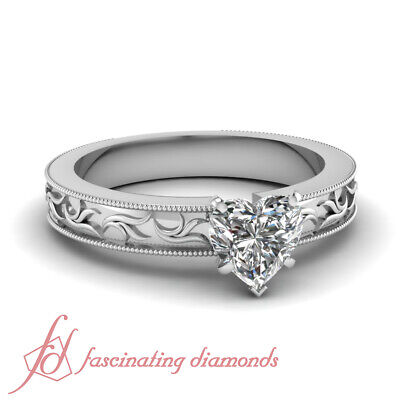 Intricate Pattern Solitaire Engagement Ring 0.50 Ct Heart Shaped VS2 Diamond GIA
