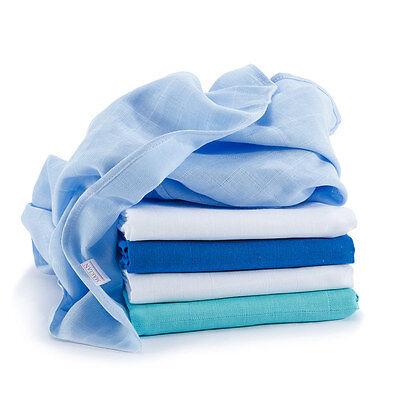 Mullwindeln / Mulltücher / Spucktücher - 5 Stück, 70x70 cm - Blau (bunt, farbig)