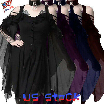 New Women Dress Gothic Ghost Steampunk Punk Fashion Cocktail Batwing Sleeve US