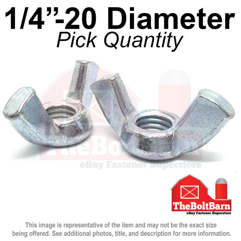 "1/4""-20 Wing Nuts Zinc Plated COARSE Thread (Pick Quantity)"