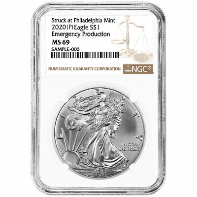 2020 (P) $1 American Silver Eagle NGC MS69 Emergency Production Brown Label